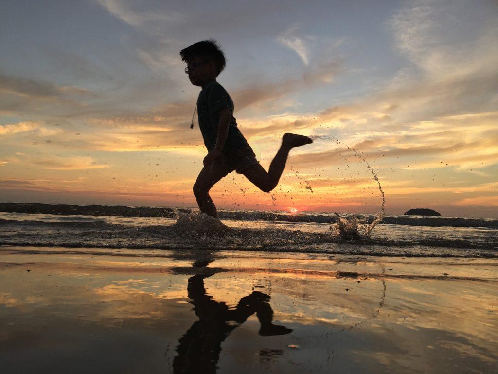 sunset, run, kids