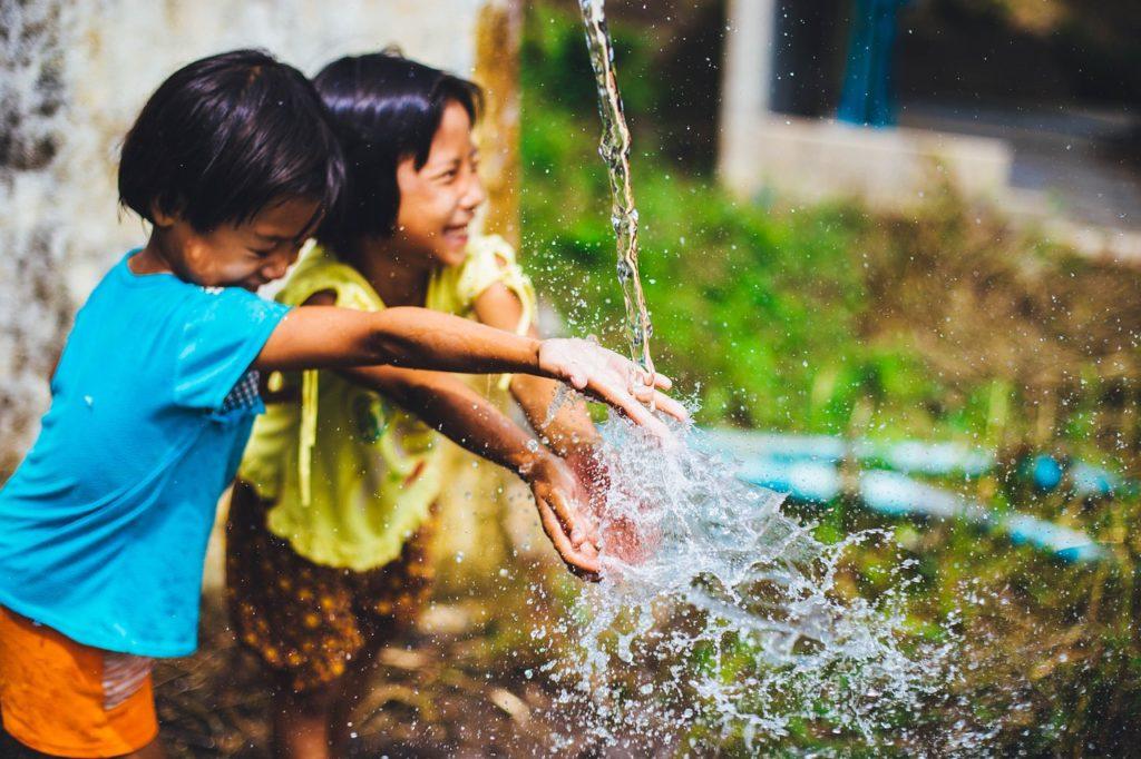 water, play, kids