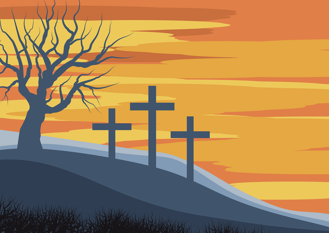 calvary, illustration, crosses