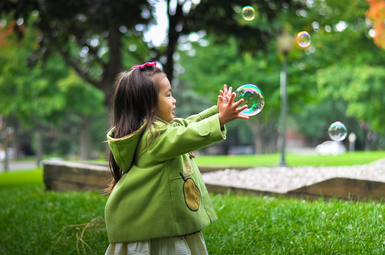 girl, soap bubbles, child