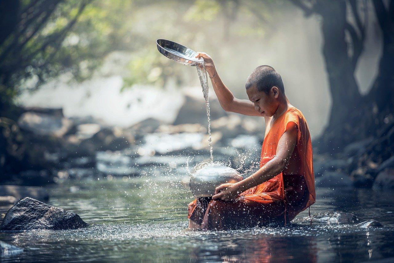 boy, monk, river